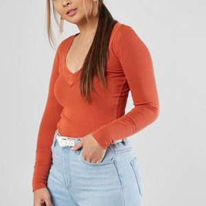 Free People Lily Ribbed Long Sleeve Layering Top